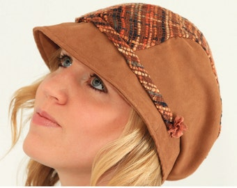 Womens Hat Sewing pattern. Sun hat with flat cap top. PDF pattern.
