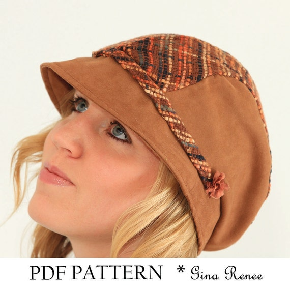 Womens Hat Sewing pattern. Sun hat with flat cap top. PDF