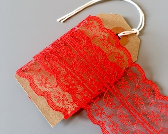 5y Red 48mm Wide Lace Ribbon / Double Sided Trim / Wedding Textiles Crafts Sewing