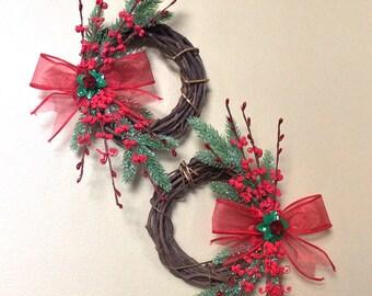 Christmas wreath set, Christmas wreaths, holiday wreaths, red wreaths, pinecone wreaths, 6 inch wreaths, grapevine wreath, jasmine wreath