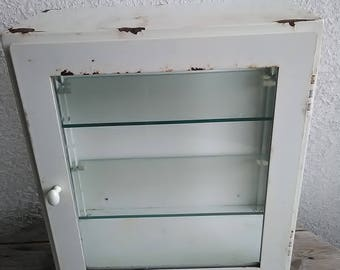 Mid Century 1940u0027s Medical Cabinet Metal And Beveled Glass With Glass