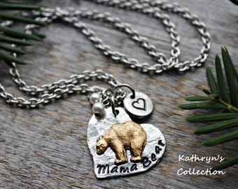 Mama Bear Necklace, Mama Bear Jewelry, Momma Bear, Mom Necklace, Gift for Mom