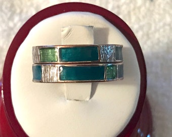 Vintage Midi Rings Stackable Over The Knuckle Avon Gold Tone Plated Over Copper Green Size 10-1/4