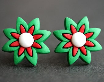 Christmas Flower Earrings. Holiday Earrings. Christmas Jewelry. Green and Red Earrings. Bronze Post Earrings. Holiday Jewelry.