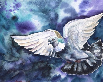 Pigeon Print of the Original painting Cute Bird fly CAUCHOIS bird beautiful