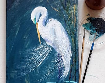 Great Egret original acrylic painting on canvas white bird art romantic gift for her home decor wildlife wall art Mother's day gift