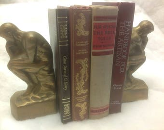 Vintage Brass Bookends Portraying  The Thinker by Auguste Rodin