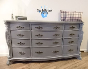 Large Provencal Ruched Chest of Drawers in Grey with White Wax Detail and Original Handles