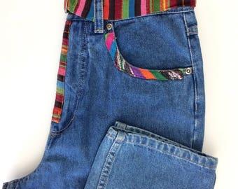 Jahrgang mehrfarbigen Druck hoch taillierte Mom Jeans