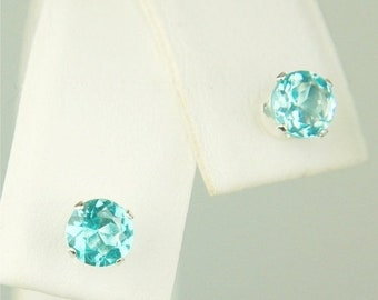 Memorial Day Sale Apatite Stud Earrings Sterling Silver 5mm Round 1ctw