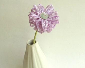 Handmade Fabric Flower in Lilac Ribbon