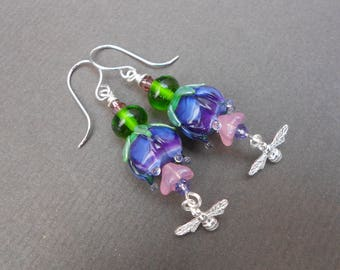 Artisan Lampwork earrings,Flower earrings,Bee earrings,Silver earrings,Multicolour earrings,Spring earrings,Boho earrings,Drop earrings,Ooak