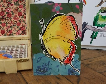"""Hand Made Card / Illustrated Card / Hand Made Card / Illustrated Greeting Card/ Bird Card / Hand made greeting card """"Yellow Butterfly"""""""