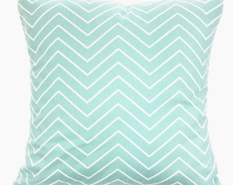Aqua White Chevron Decorative Pillow Covers, Throw Pillow Cushion Covers Pastel Aqua White Chevron Euro Sham Couch Bed Sofa VARIOUS SIZES