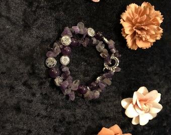Alyssa Amethyst Stone Beaded Double Bracelet/Choker