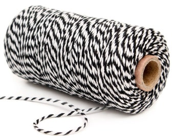 Bakers Twine, 12 Ply Bakers Twine, 100 Yard Spool of Twine, Black and White Bakers Twine, Black Cotton String, Engagement Party Favor String