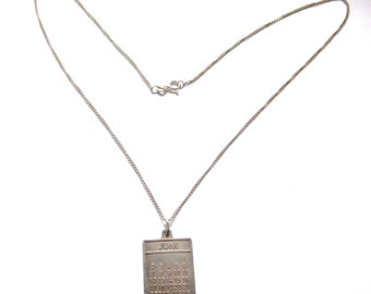 SPECIAL OFFERS: Sterling Silver Necklace - Month - Pendant - June - Juni - Vintage Jewellery