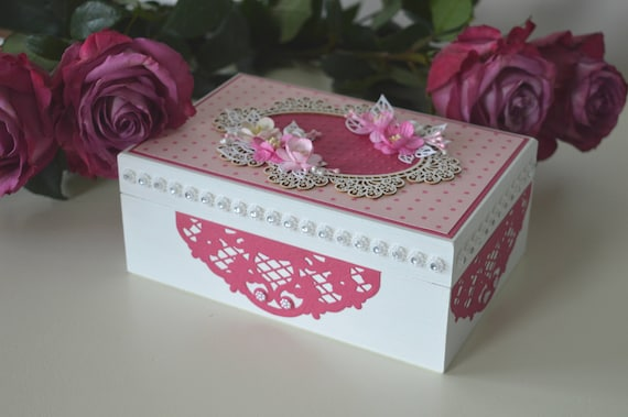 Wooden keepsake box Jewelry box Pink wooden box Baby girl