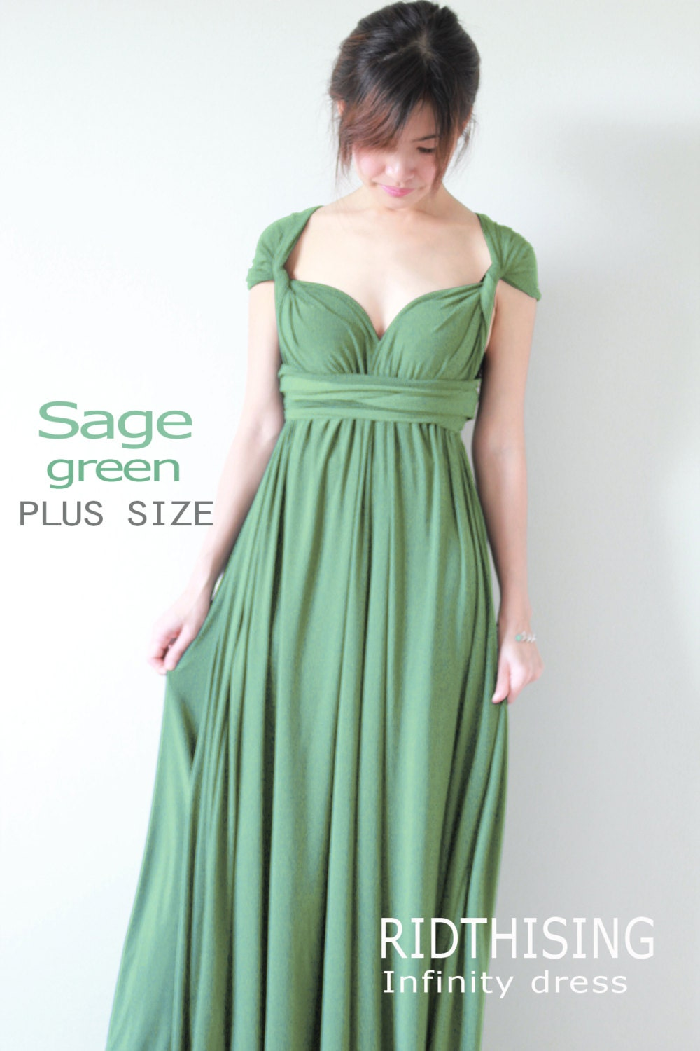 Plus size sage green bridesmaid dress maxi infinity dress prom zoom ombrellifo Choice Image