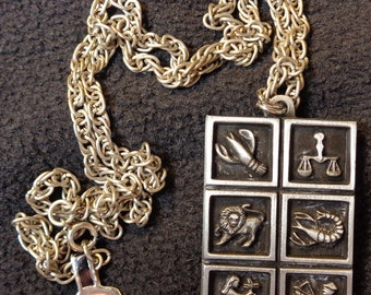 """Pewter Horoscope pendant on a 12"""" chain."""