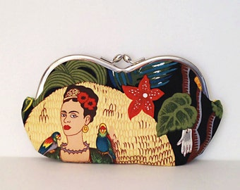 Frida Kahlo with Parrots, sunglass case, sunglasses case, eyeglasses case, eyeglass case, coin purse, bag, small clutch, large sunglass case