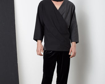 Mens Tunic - Mens Black Shirt, Mens Dress Shirt, Black Asymmetrical Shirt, Mens Fashion,Mens Clothing