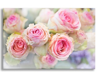 Paris Roses Photograph on Canvas, Paris Romance, Gallery Wrapped Canvas, French Home Decor, Large Wall Art