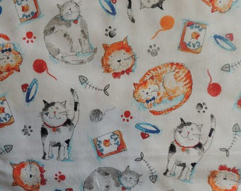 Fabric cotton white pattern cats