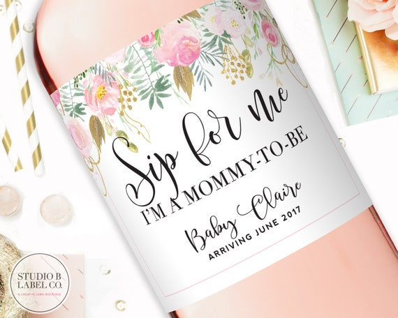 Champagne Labels Pregnancy Reveal To Family Baby Shower Wine