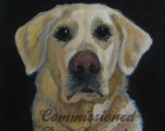 """Commissioned Dog Portrait from your photo Acrylic Painting 8"""" x10"""""""