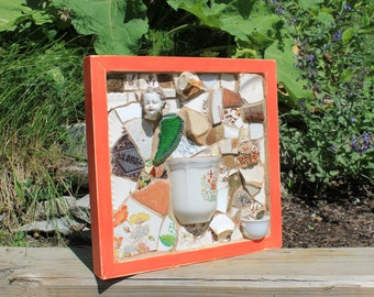 TREASURY- Mosaic Art Piece featuring broken dishes with Custom Wood Frame