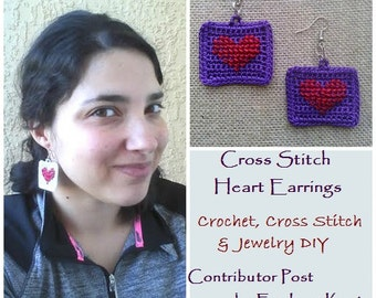 PATTERN for Crochet, Cross Stitch & Jewelry DIY - Framed Cross Stitch Heart Earrings - Easy DIY - Permission to Sell Finished Items