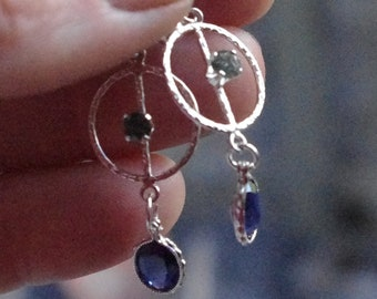 Natural sapphires and sterling silver dangle studs