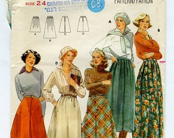 Vintage Butterick 5580 Women's Long Bias Cut Skirt UNCUT Sewing Pattern Size 24 Waist 24 Hip 33 Small