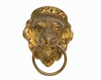 Single Metal Lion Head Drawer Pull With Ring in Its Mouth