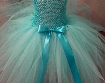 Turquoise blue tulle dress