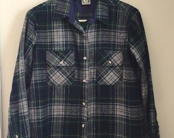 Vintage wool blend appalachain trail button up plaid shirt vermont womens s/m