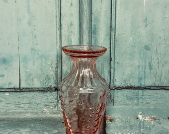 Beautiful large cranberry glass antique french vase - pink glass - rose glass - French roses