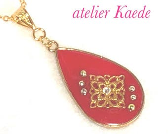 """Necklace """"antique style -red"""""""