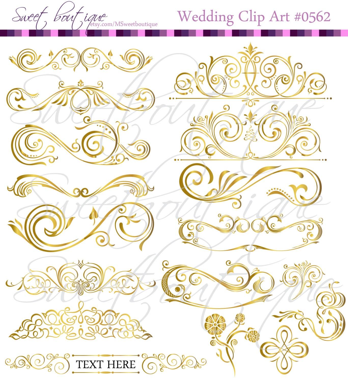 GOLD 17 Calligraphy Vintage Clip Art DIY Wedding Cards Design