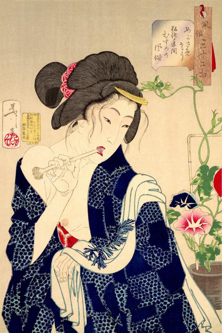 Japanese art prints Japanese geishas Nudes Beauties Waking