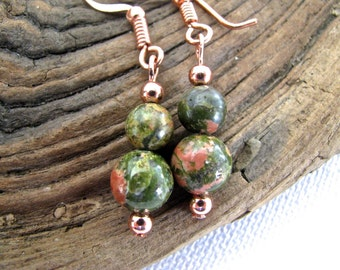 Unakite and Copper Natural Gemstone Long Dangly Earring