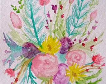 Wildflower Bouquet Watercolor Painting