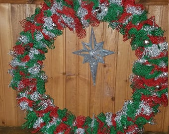 Christmas wreath with a silver north star