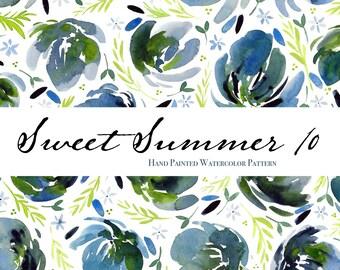 "Sweet Summer 10 - Watercolor Floral Clip Art Pattern - Digital Paper - 10 x 7"" - Hand painted watercolour flowers"
