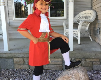 Captain Hook Costume size age 8 to 12 short or long sleeve jacket, pants and jabot