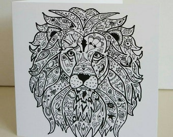 His Majesty card with fine art print from original lion drawing by Bee Skelton. Any occasion birthday gift anniversary thank you