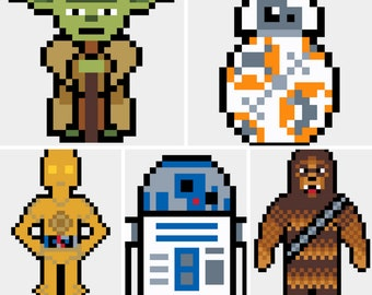 Assorted Star Wars Mini Patterns / R2D2 - Yoda - C3PO - Chewbacca - BB-8 / Quick Cross Stitch / Birthday Gift / Nerdy Cross Stitch Patterns