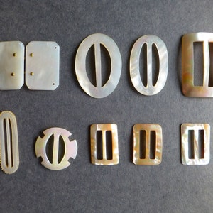 Collection of 9 Vintage Mother-of-Pearl Buckles