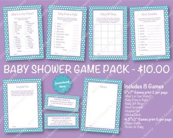 70% Off SALE Lavender and Teal Baby Shower Game Pack - PRINTABLE Aqua Baby Shower Games- 8 Pack - Light Teal Lavender -Diaper Raffle Ticket